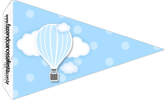 Bandeirinha Sanduiche 4 Balão de Ar Quente Azul