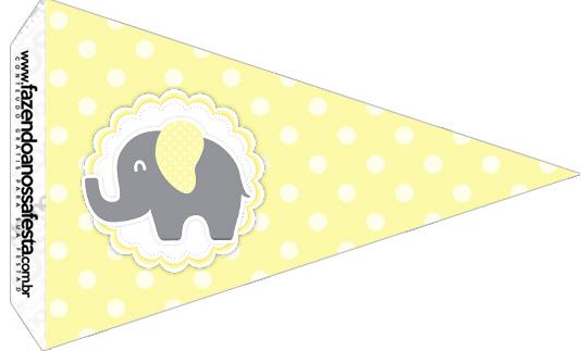 Bandeirinha Sanduiche 4 Elefantinho Chevron Amarelo e Cinza