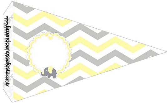 Bandeirinha Sanduiche 5 Elefantinho Chevron Amarelo e Cinza