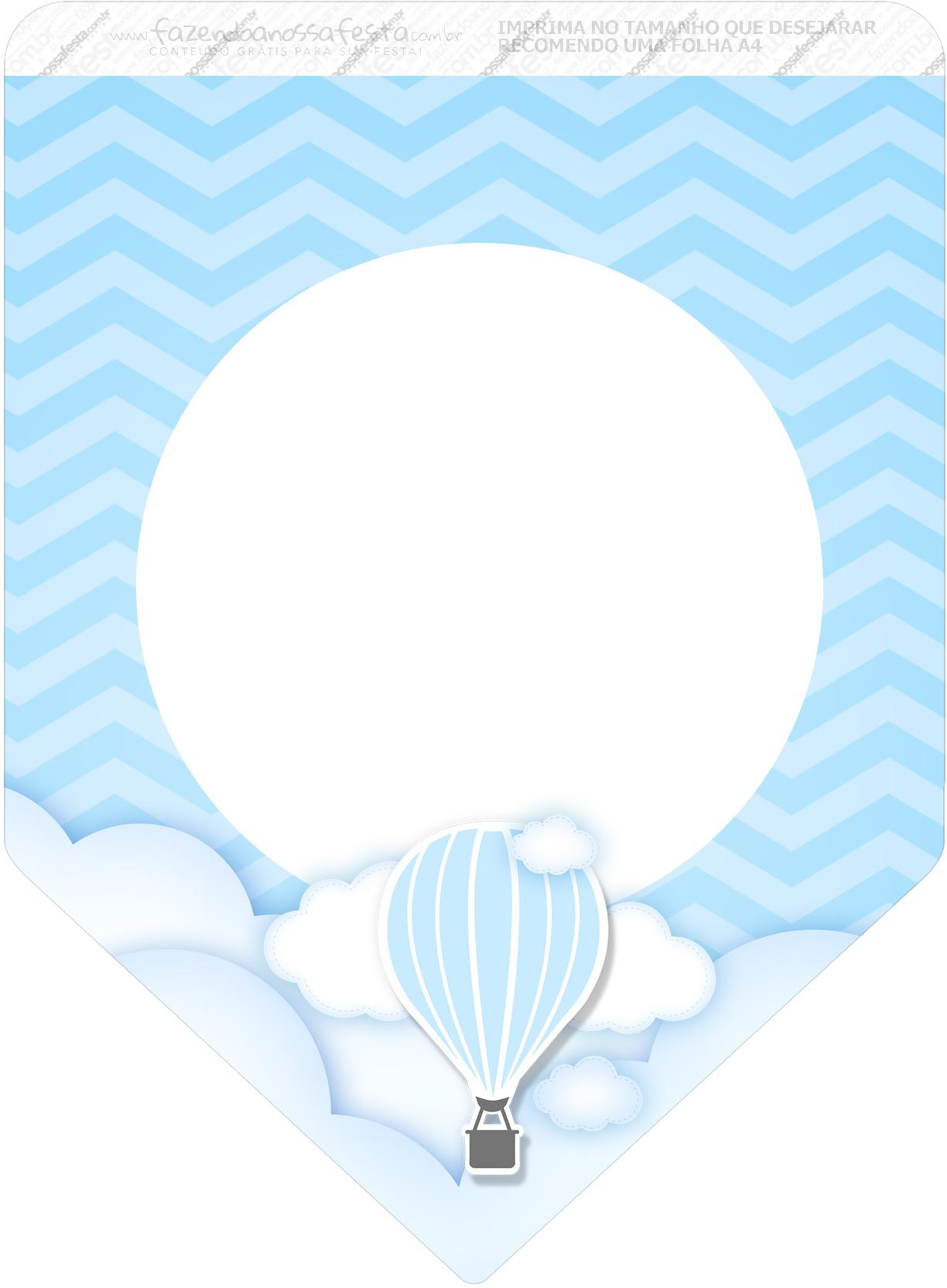 Bandeirinha Varalzinho 3 Balão de Ar Quente Azul