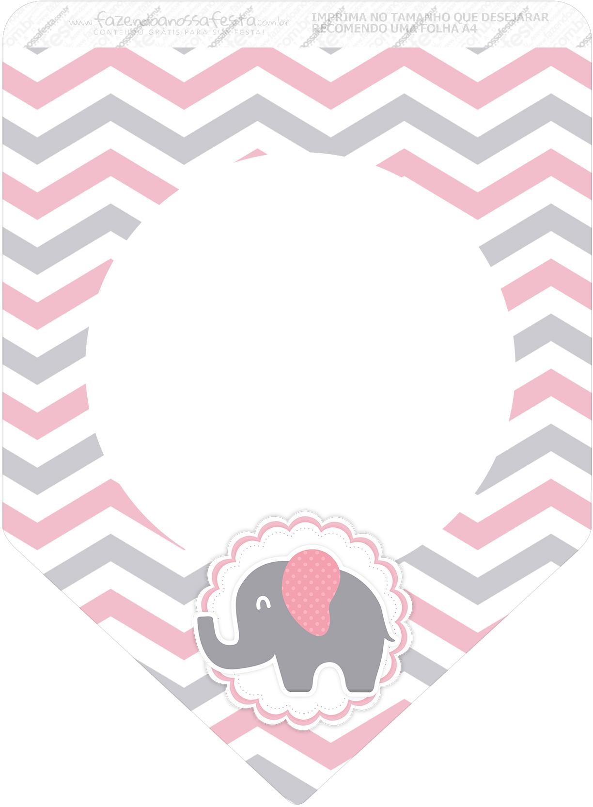 Bandeirinha Varalzinho 3 Elefantinho Rosa e Cinza Chevron