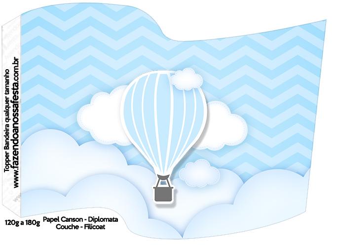 Bandeirinha Varalzinho Balão de Ar Quente Azul