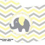 Bandeirinha Varalzinho Elefantinho Chevron Amarelo e Cinza