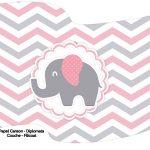Bandeirinha Varalzinho Elefantinho Rosa e Cinza Chevron