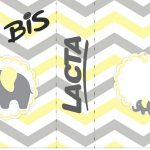 Bis Duplo Elefantinho Chevron Amarelo e Cinza