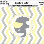 Bisnaga Brigadeiro 15gr Elefantinho Chevron Amarelo e Cinza