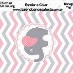 Bisnaga Brigadeiro 15gr Elefantinho Rosa e Cinza Chevron