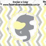Bisnaga Brigadeiro 30gr Elefantinho Chevron Amarelo e Cinza Kit Festa
