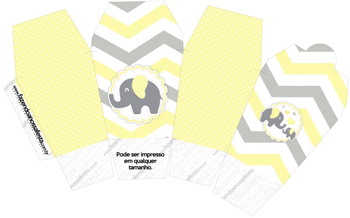Caixa China in Box Elefantinho Chevron Amarelo e Cinza