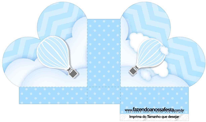 Caixa Coração Balão de Ar Quente Azul