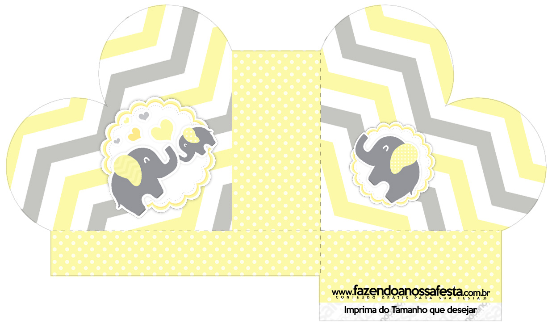 Caixa Coração Elefantinho Chevron Amarelo e Cinza