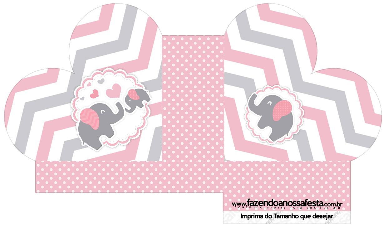 Caixa Coração Kit festa Elefantinho Rosa e Cinza Chevron