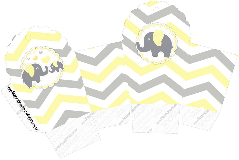 Caixa Cupcake Elefantinho Chevron Amarelo e Cinza