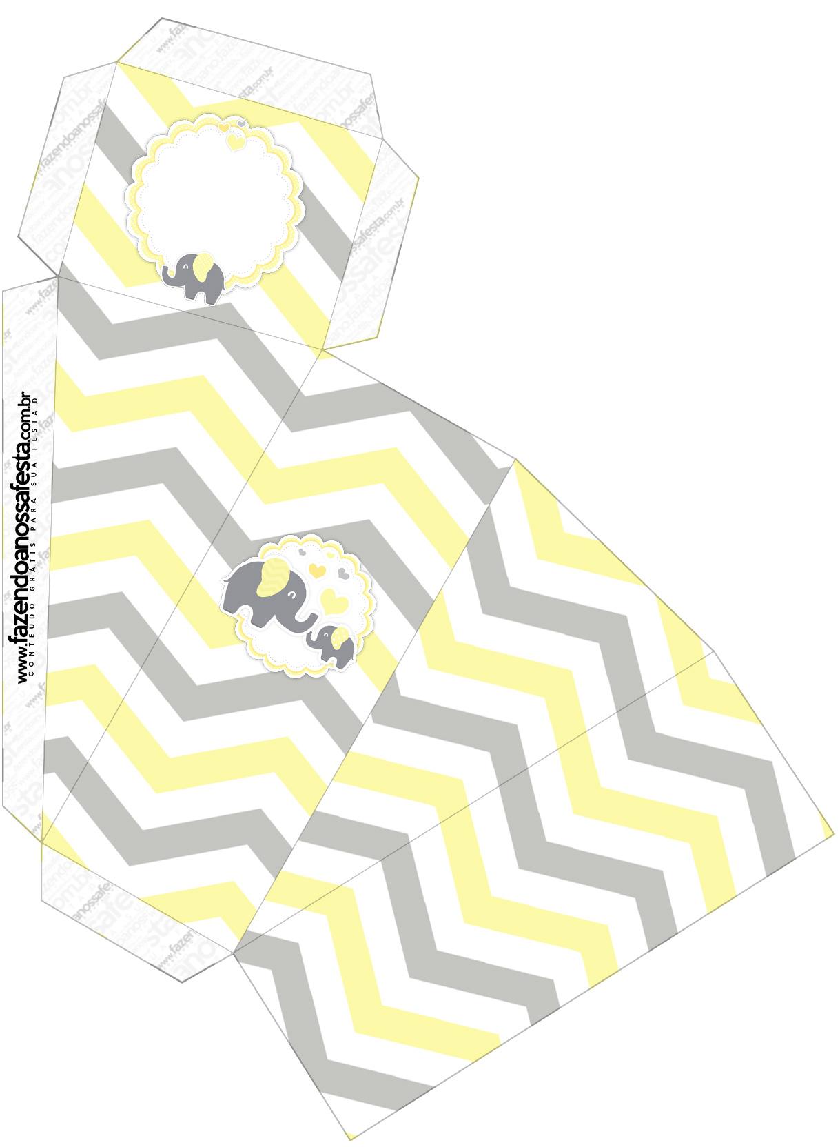 Caixa Fatia Elefantinho Chevron Amarelo e Cinza