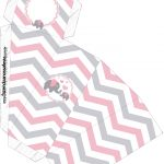Caixa Fatia Elefantinho Rosa e Cinza Chevron
