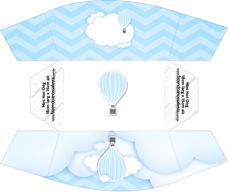 Caixa Mini Cachorro quente Balão de Ar Quente Azul