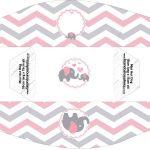 Caixa Mini Cachorro quente Elefantinho Rosa e Cinza Chevron