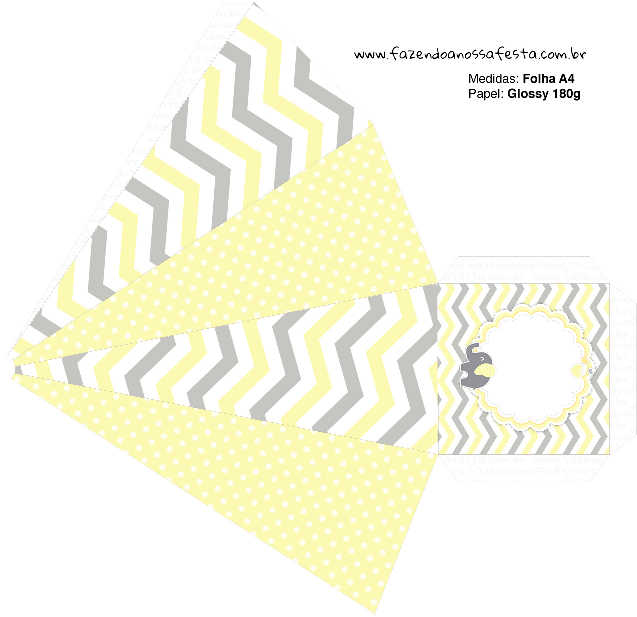 Caixa Pirâmide 2 Elefantinho Chevron Amarelo e Cinza