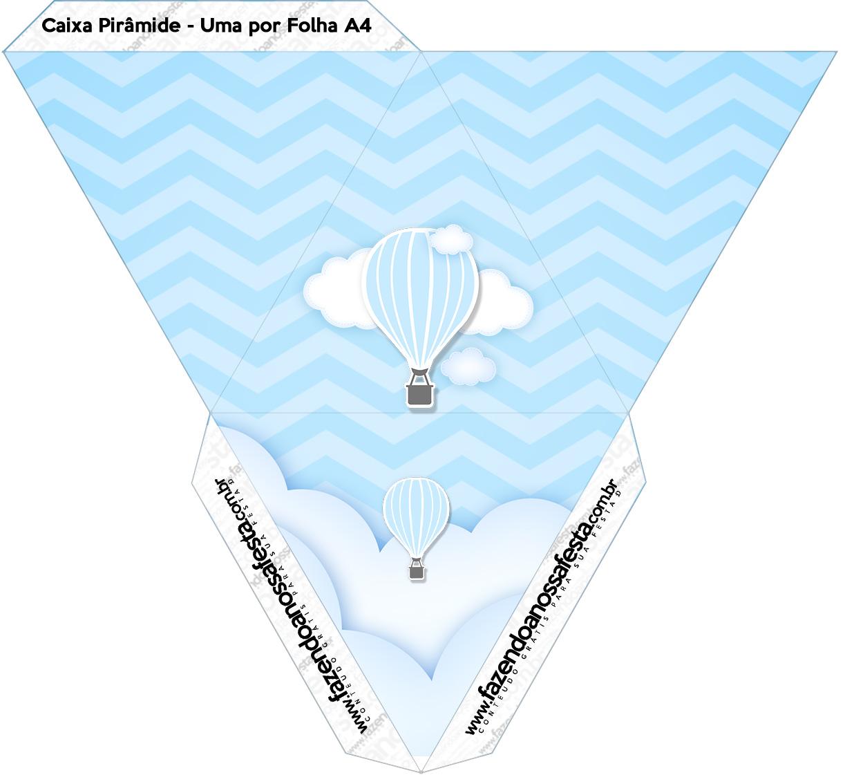 Caixa Piramide Balão de Ar Quente Azul