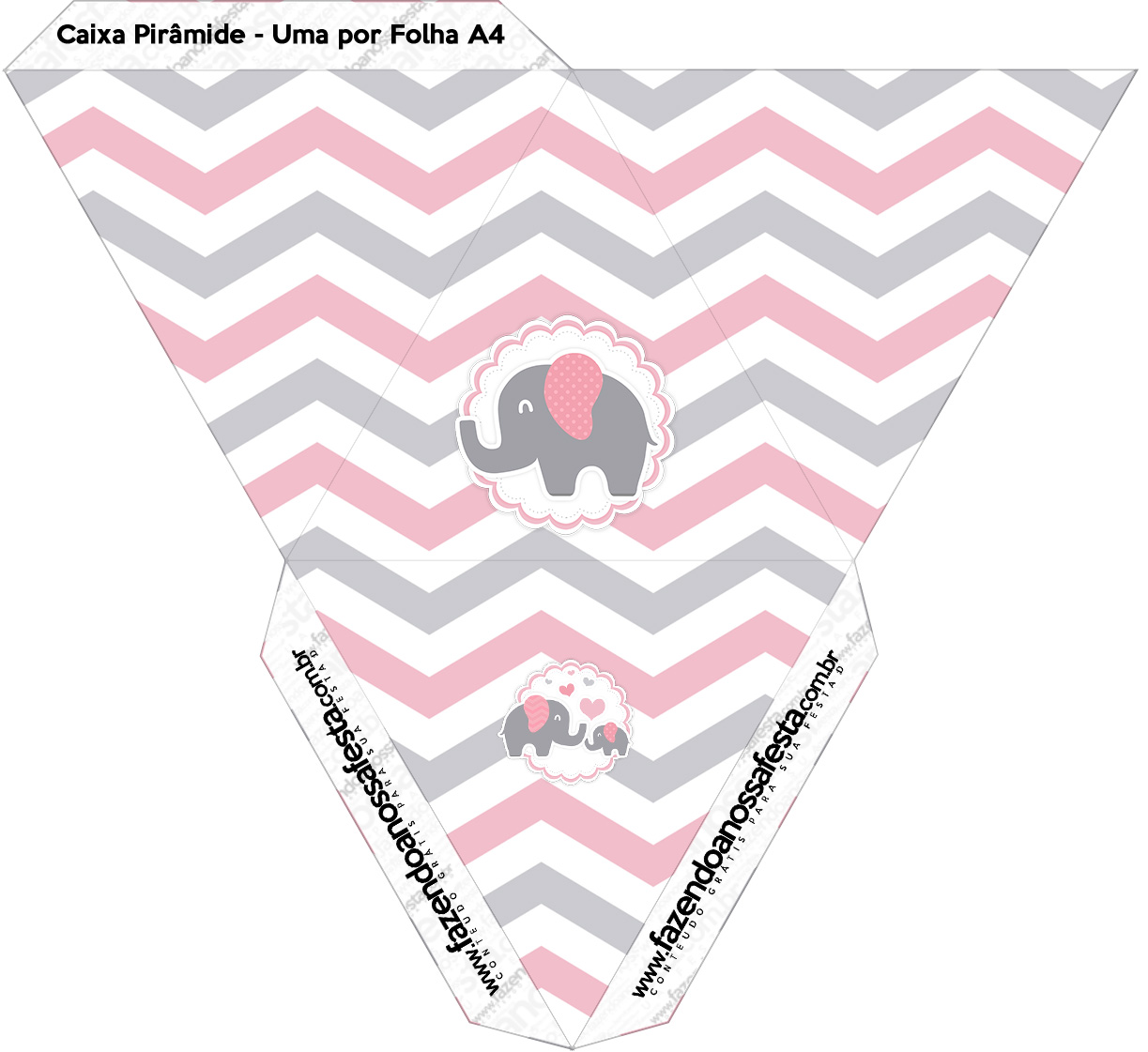 Caixa Piramide Elefantinho Rosa e Cinza Chevron