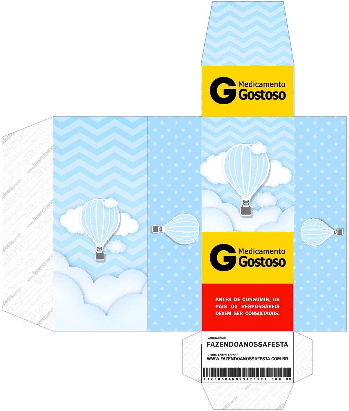 Caixa Remedio Balão de Ar Quente Azul