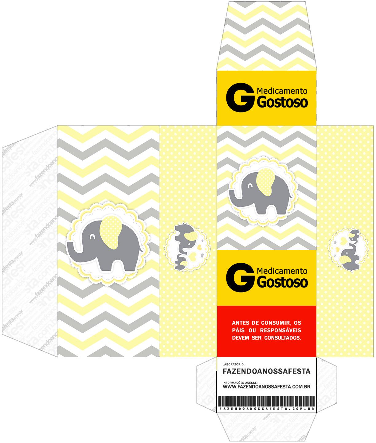 Caixa Remedio Elefantinho Chevron Amarelo e Cinza