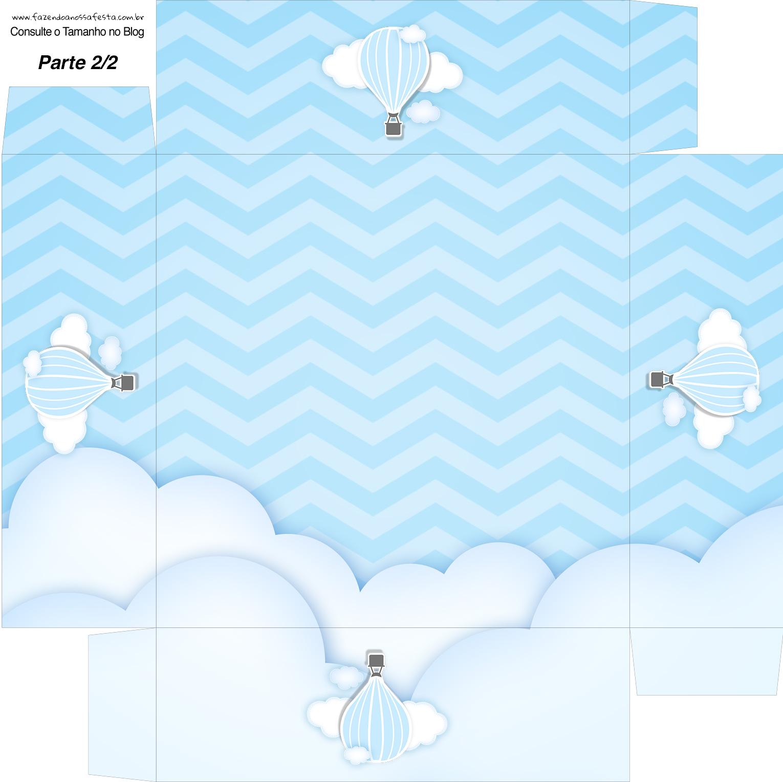 Caixa bombom Fundo Balão de Ar Quente Azul