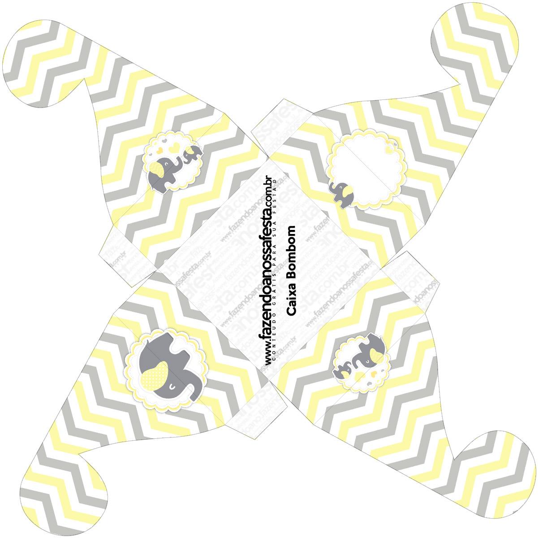 Caixa bombom pequeno Elefantinho Chevron Amarelo e Cinza