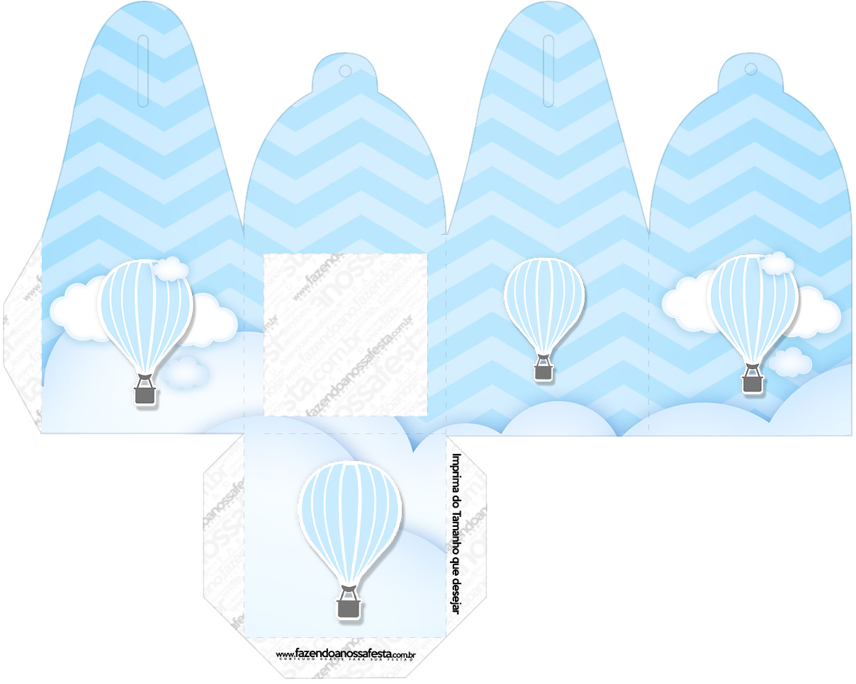 Caixa com Foto Balão de Ar Quente Azul