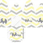 Caixa com Foto Elefantinho Chevron Amarelo e Cinza
