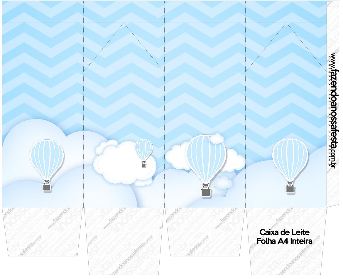 Caixa de leite Balão de Ar Quente Azul