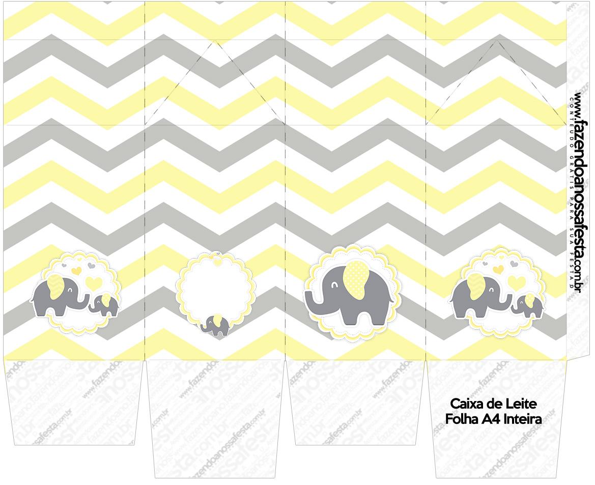 Caixa de leite Elefantinho Chevron Amarelo e Cinza