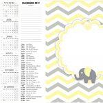 Calendário 2017 2 Elefantinho Chevron Amarelo e Cinza