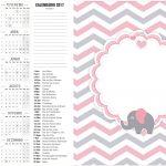 Calendario 2017 2 Elefantinho Rosa e Cinza Chevron