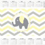 Calendário 2017 Elefantinho Chevron Amarelo e Cinza