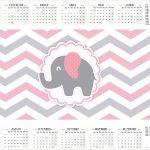 Calendário 2017 Elefantinho Rosa e Cinza Chevron