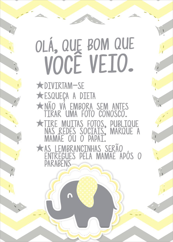 Cartão Agradecimento Quadro Elefantinho Chevron Amarelo e Cinza Kit Festa
