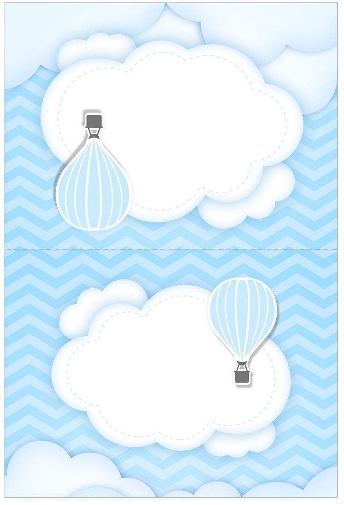 Cartão Agradecimento de mesa Balão de Ar Quente Azul