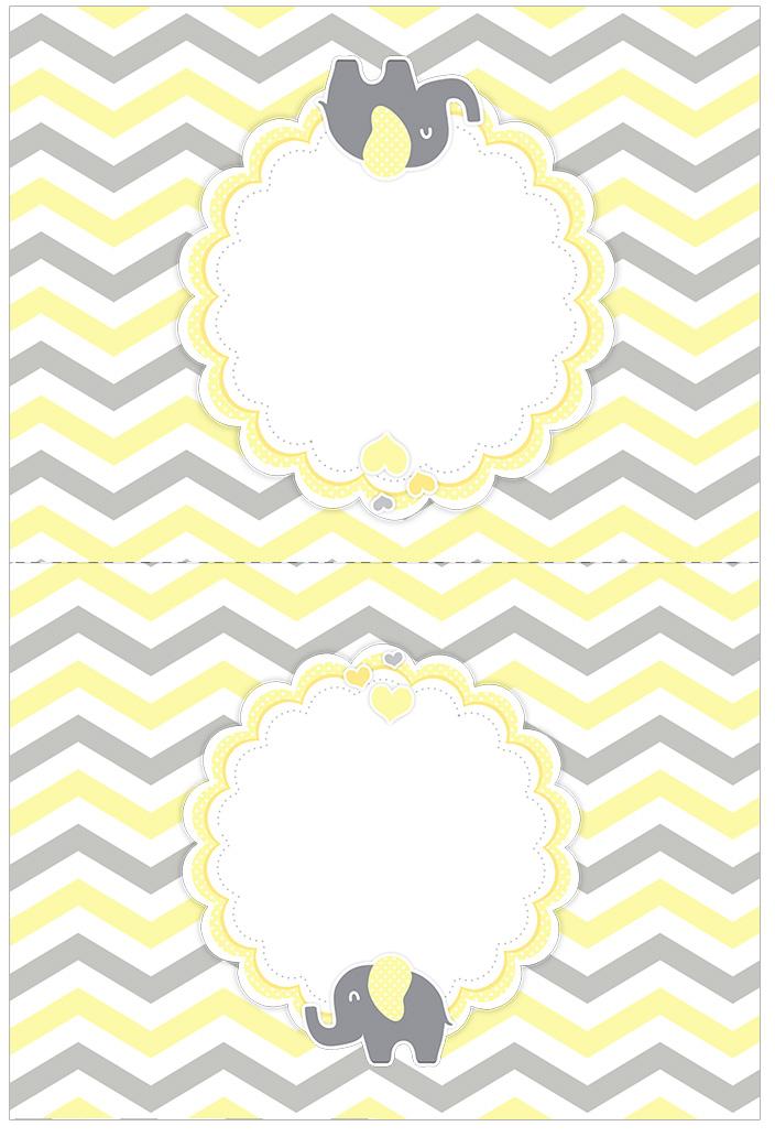 Cartão Agradecimento de mesa Elefantinho Chevron Amarelo e Cinza