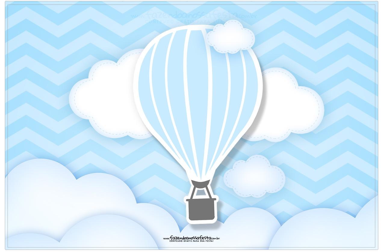 Cartão Balão de Ar Quente Azul Kit Festa