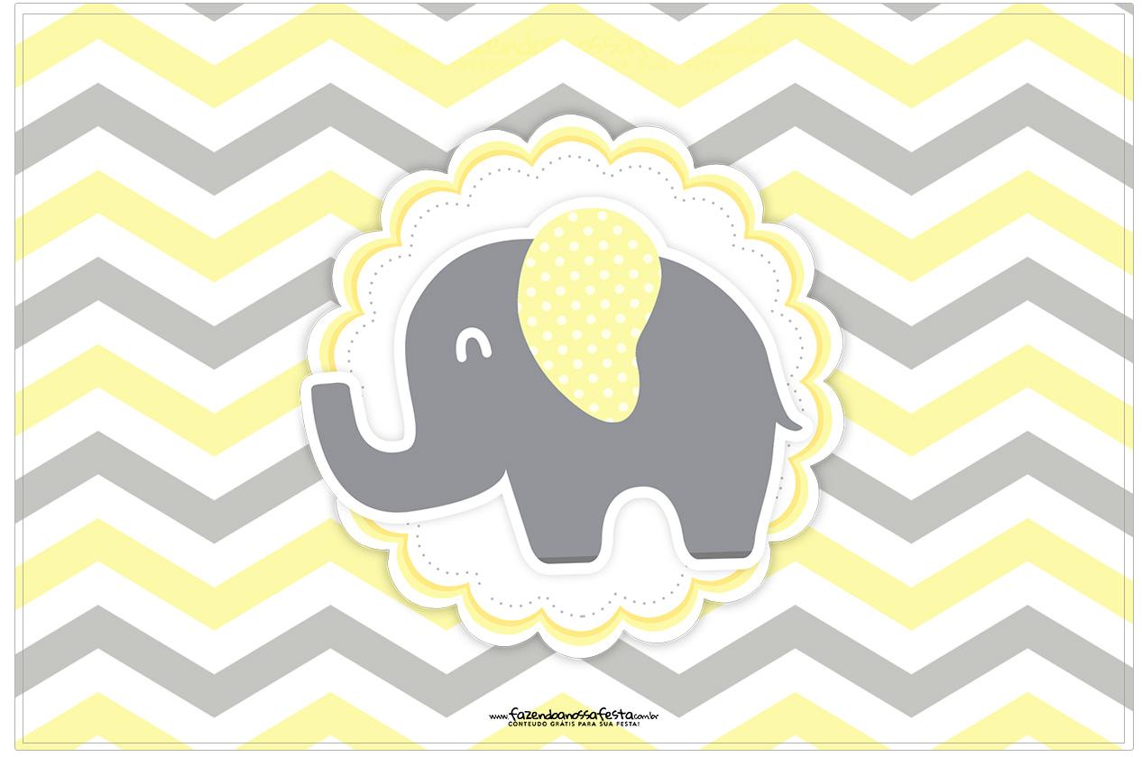 Cartão Elefantinho Chevron Amarelo e Cinza