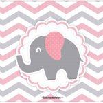 Cartao Elefantinho Rosa e Cinza Chevron