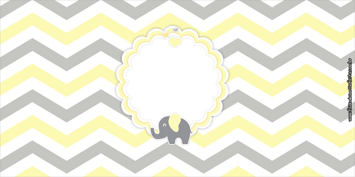 Cofrinho Elefantinho Chevron Amarelo e Cinza