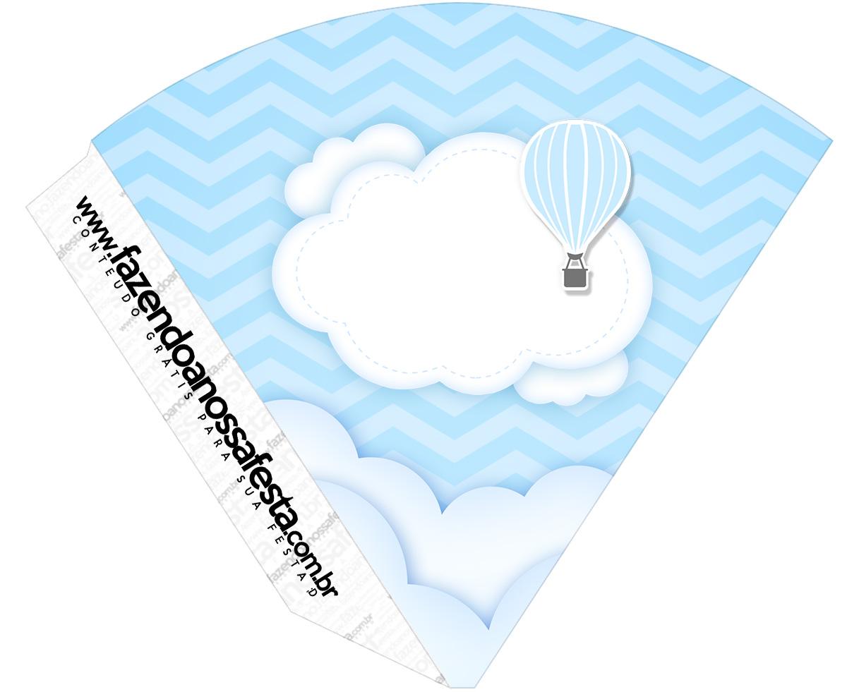 Cone Guloseimas Balão de Ar Quente Azul