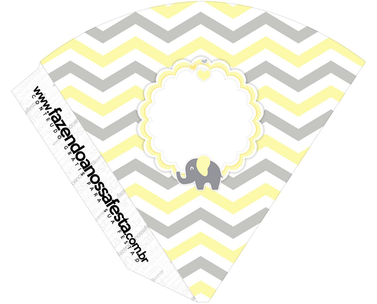 Cone Guloseimas Elefantinho Chevron Amarelo e Cinza