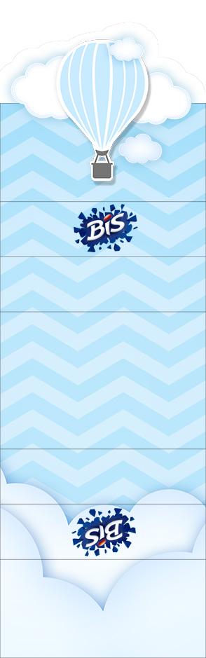 Convite Bis Duplo 3D Balão de Ar Quente Azul Kit Festa