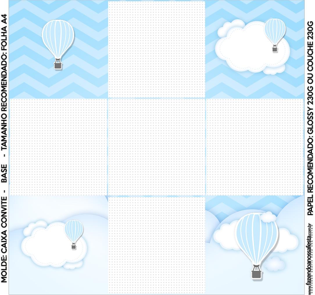 Convite Caixa Fundo Balão de Ar Quente Azul