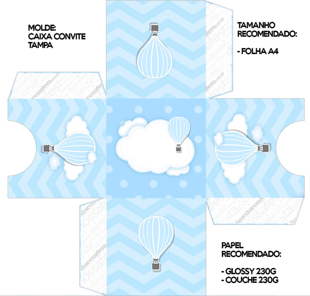 Convite Caixa Tampa Balão de Ar Quente Azul