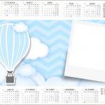 Convite Calendário 2017 Balão de Ar Quente Azul