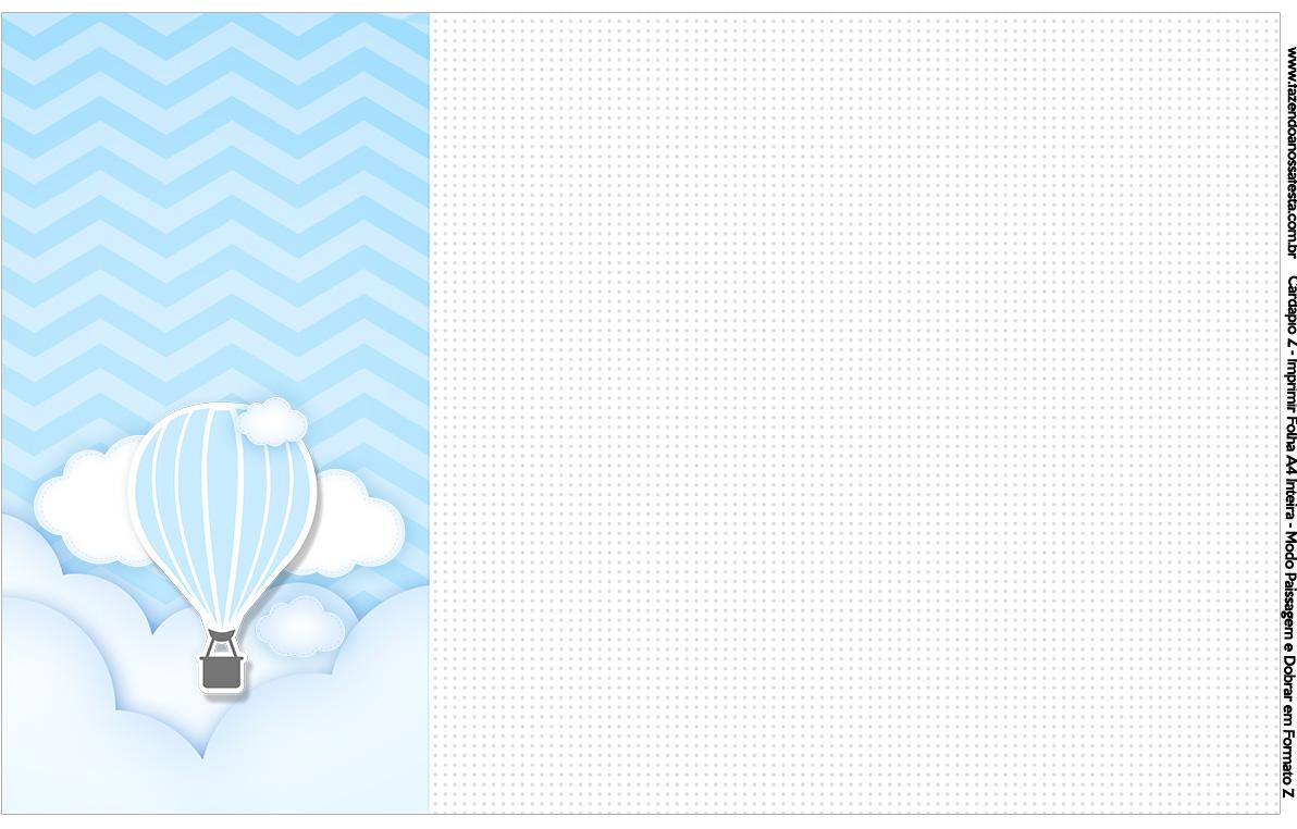 Convite Cardápio ou Cronograma em Z Balão de Ar Quente Azul